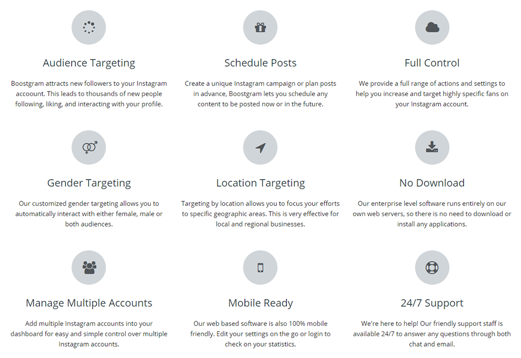 Boostgram-features