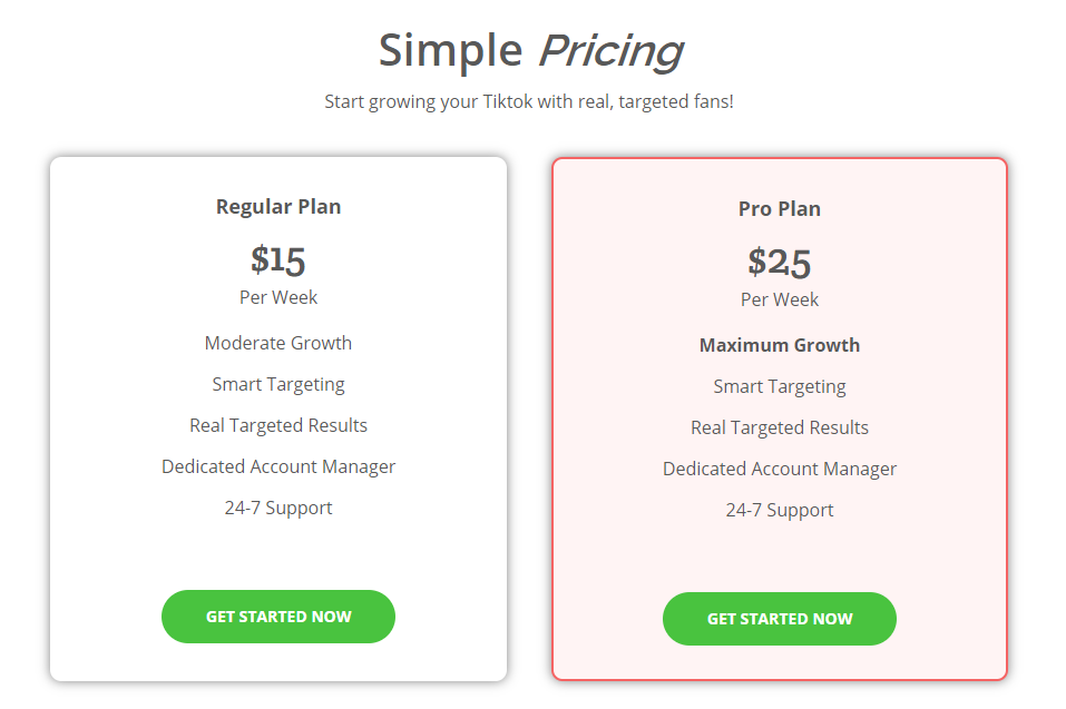 Toksocial Pricing