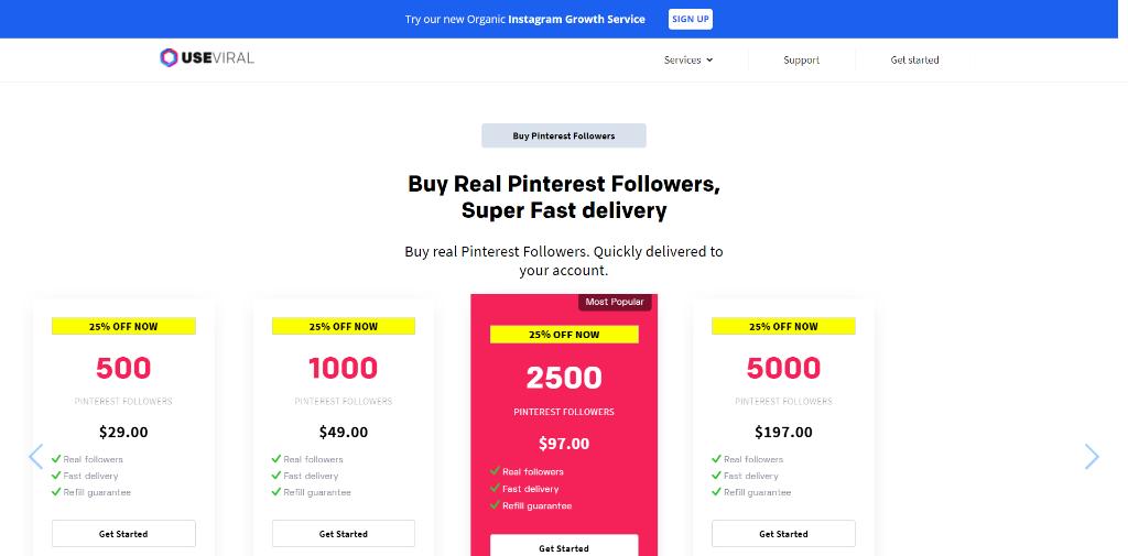 UseViral Pinterest Followers