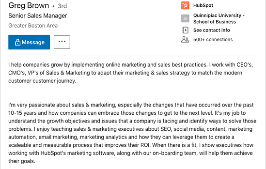 LinkedIn Summary Example