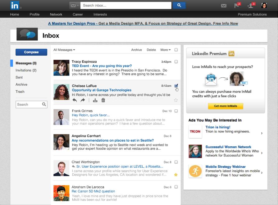 LinkedIn message inbox