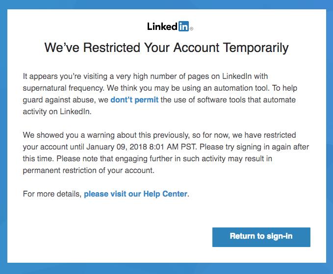 LinkedIn restriction message