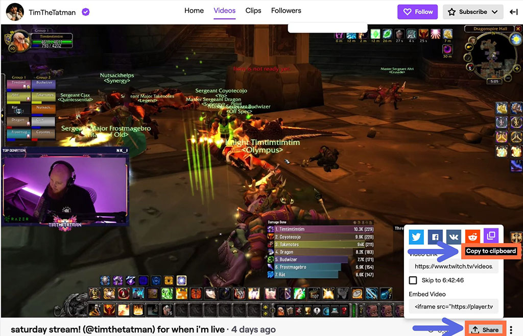 Twitch linking Social Media