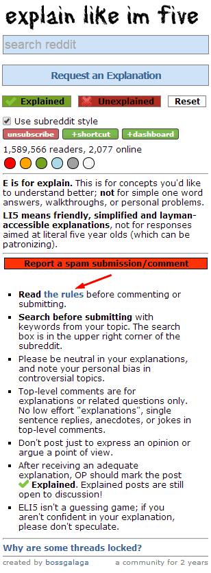 subreddit rules