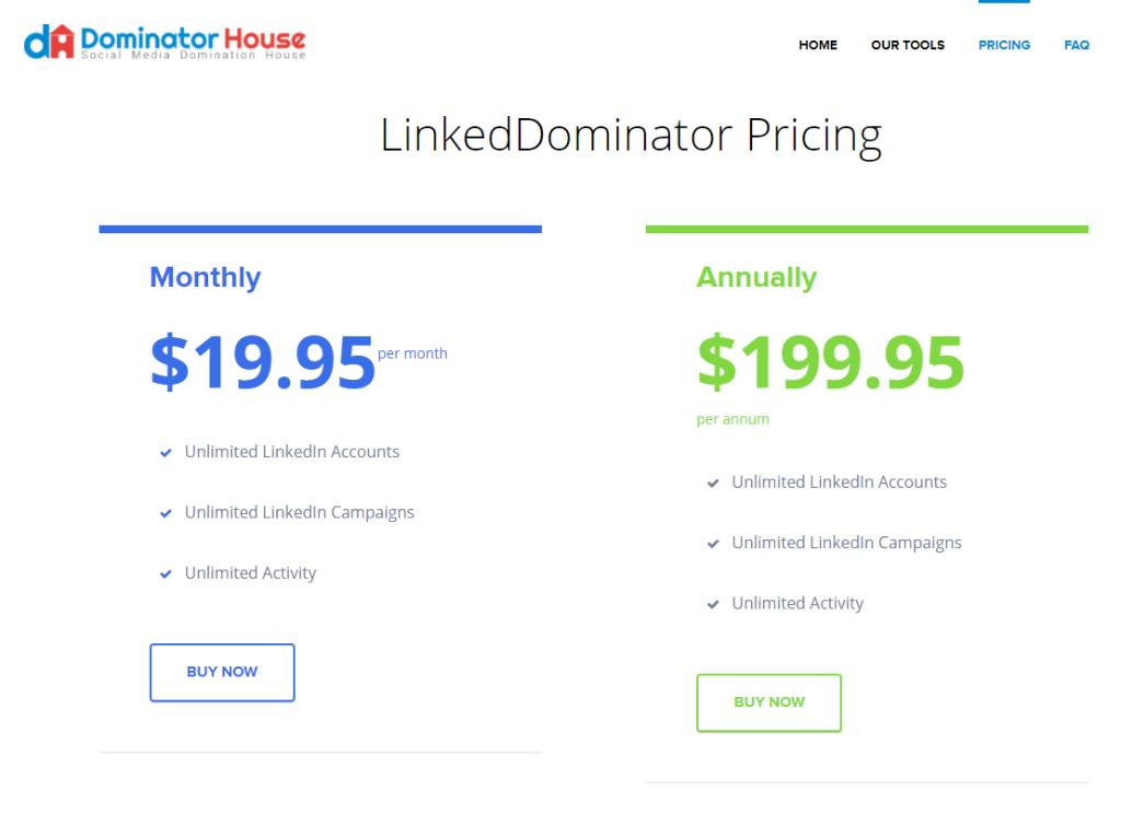 Dominator House Linkedin Pricing