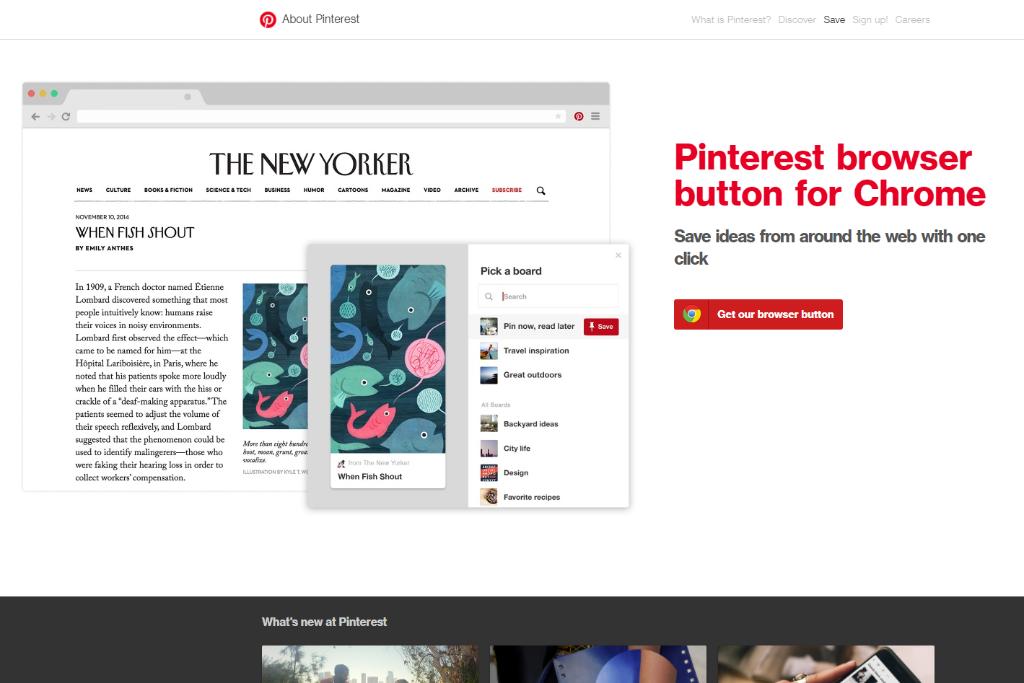 Pinterest's browser button
