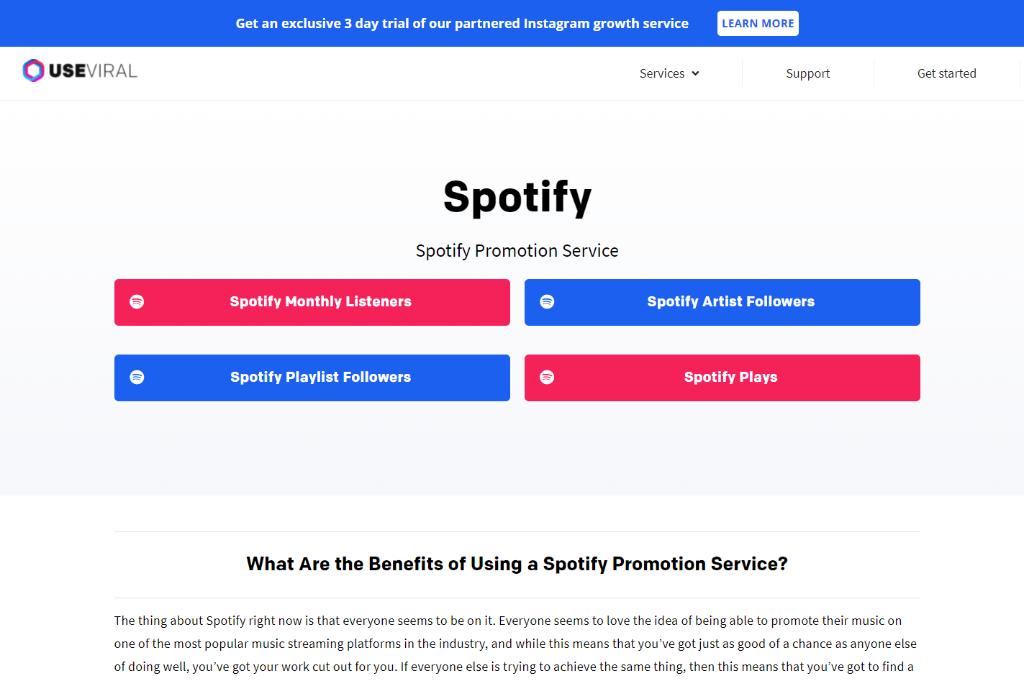 UseViral  Spotify Promotion Service