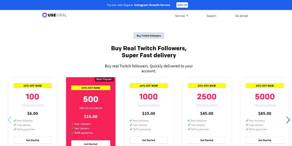 UseViral - Buy Twitch Followers