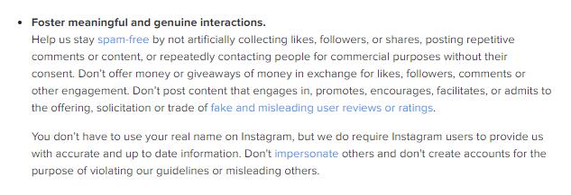 Instagram community guideline