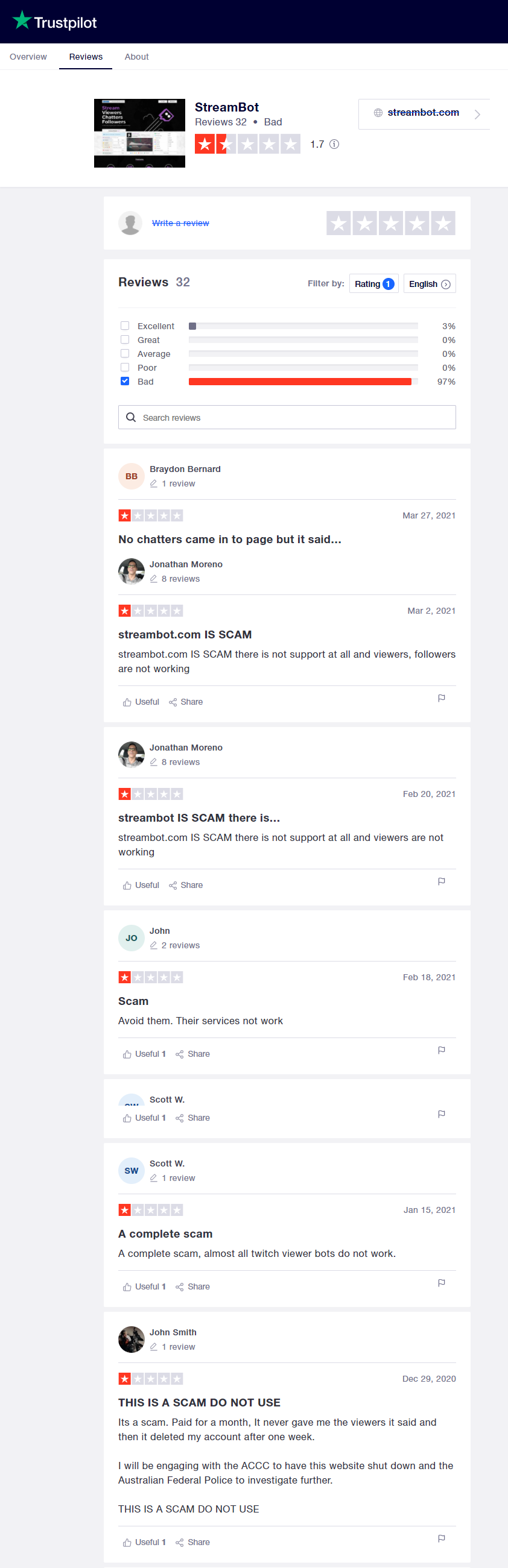 Streambot Trustpilot reviews