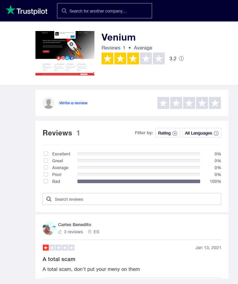 Venium Trustpilot Reviews