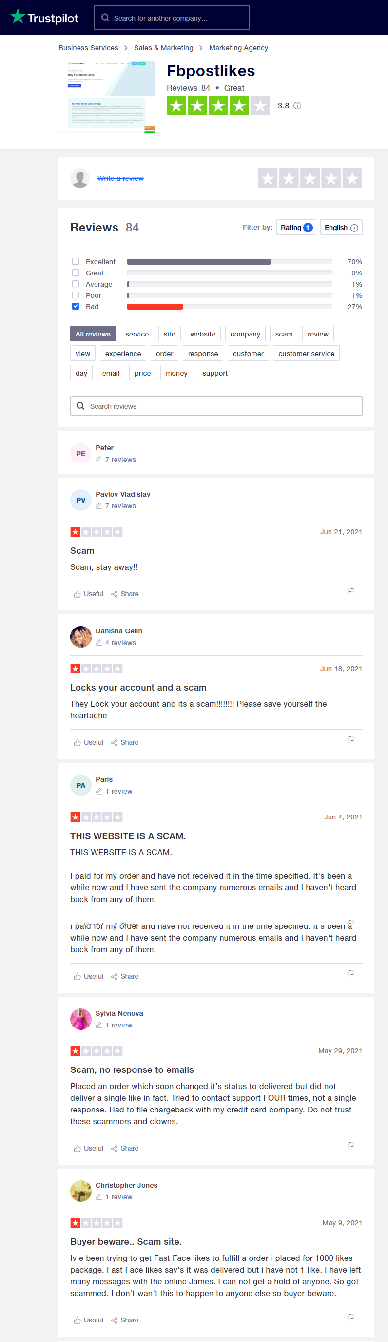 FB Post Likes Trustpilot Reviews