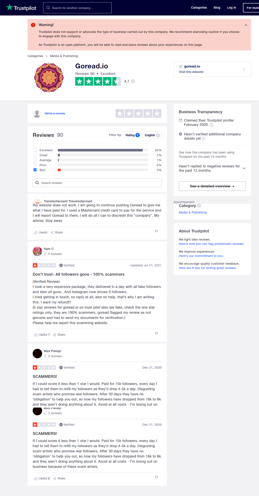 GoRead Trustpilot Reviews