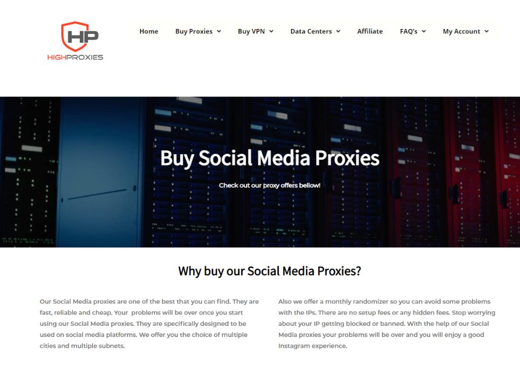 High Proxies Social Media Proxies