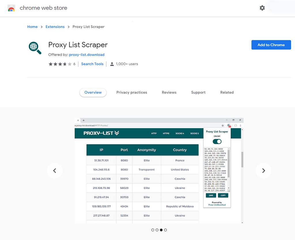 Proxy List Scraper (Chrome)