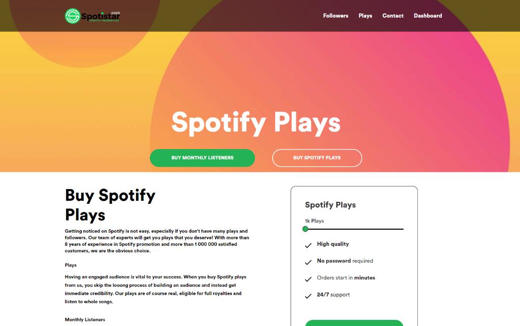 Spotistar Spotify Plays