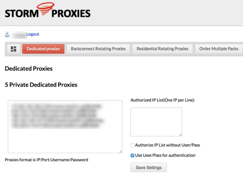 Storm Proxies 5 ports
