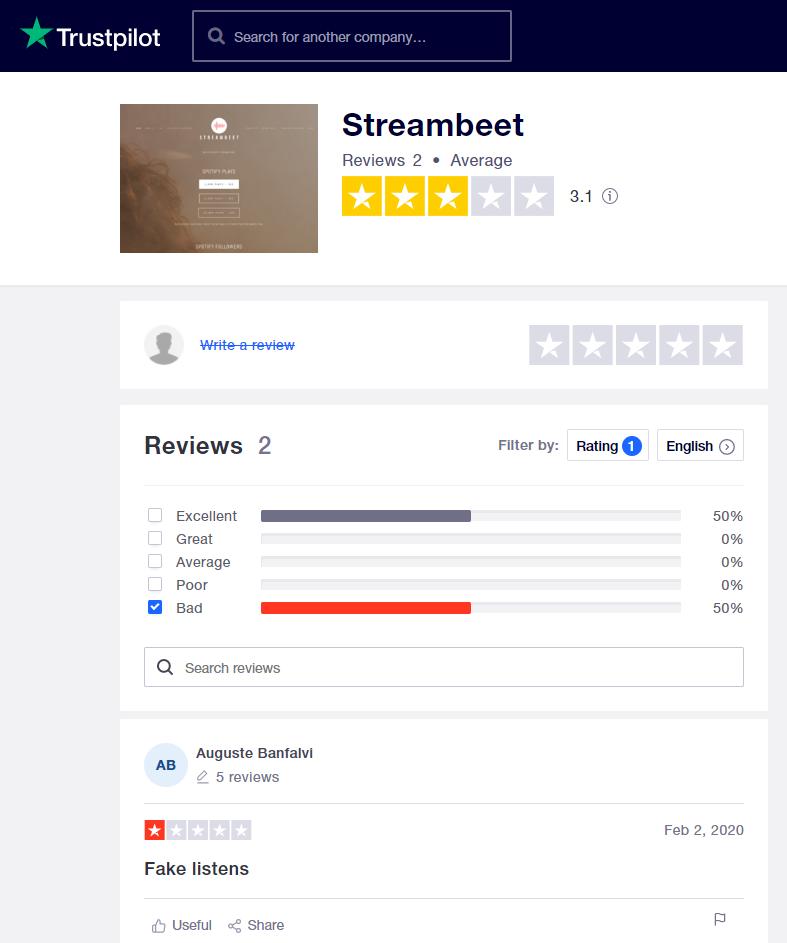 StreamBeet Trustpilot Reviews