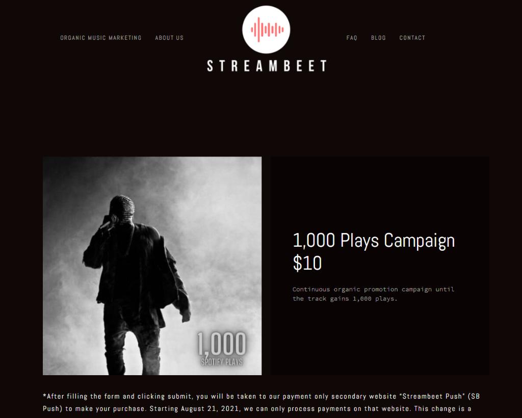 Streambeet Spotify Plays