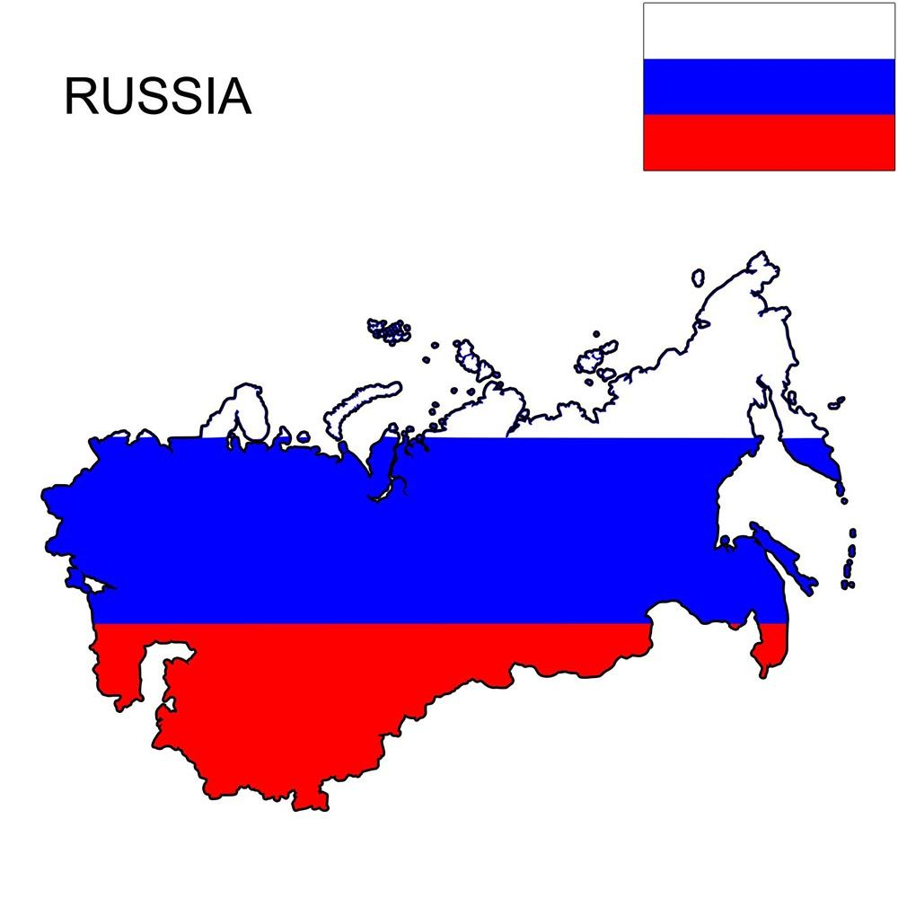 russia flag n map