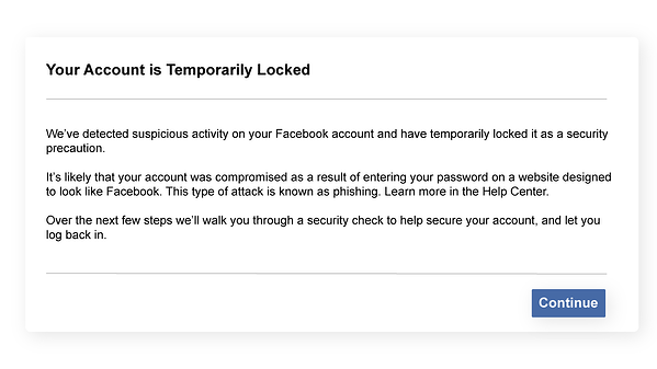 Facebook jail example