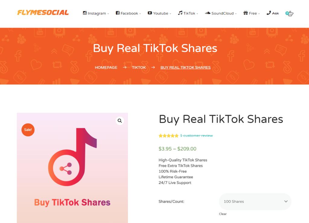 Fly Me Social TikTok Shares
