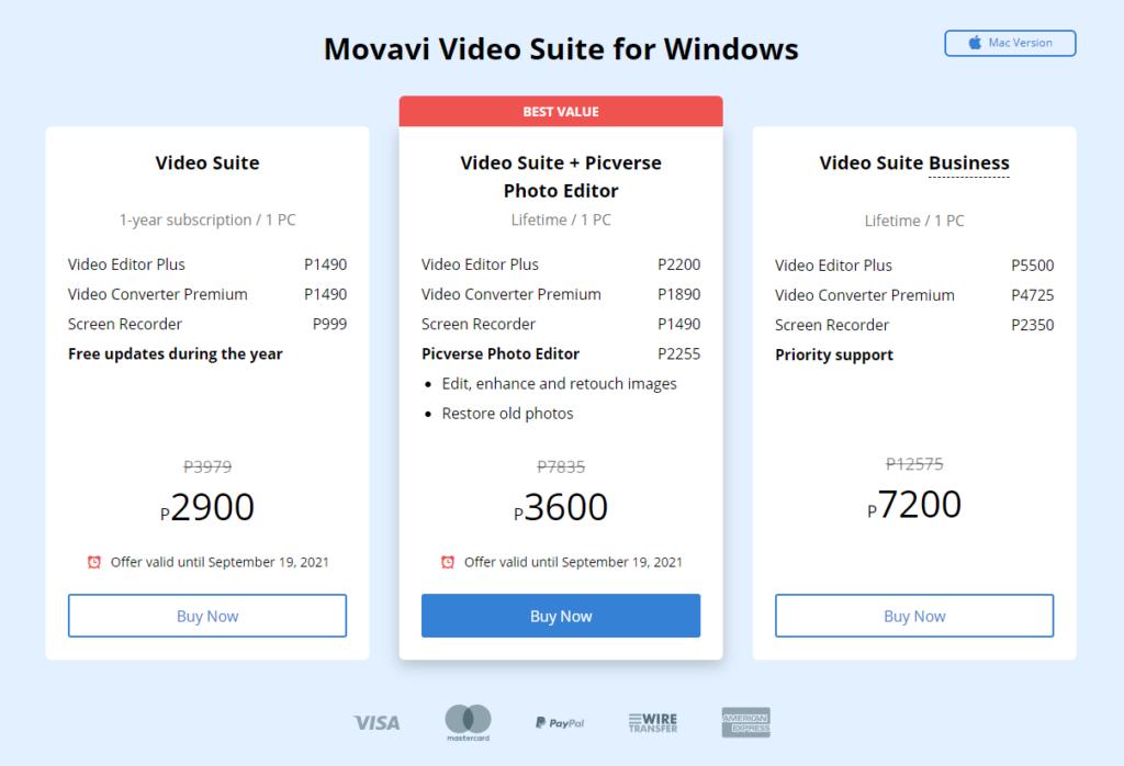 Movavi Video Suite Pricing