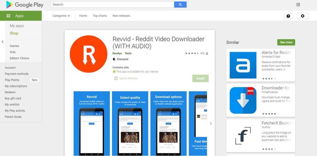 Revvid Video downloader for Reddit with audio
