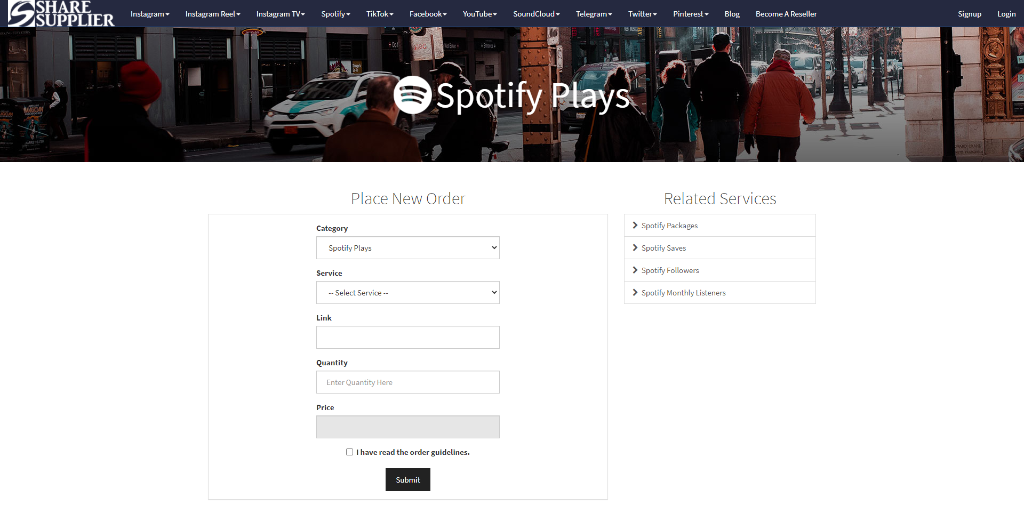 Share Supplier Spotify Plays