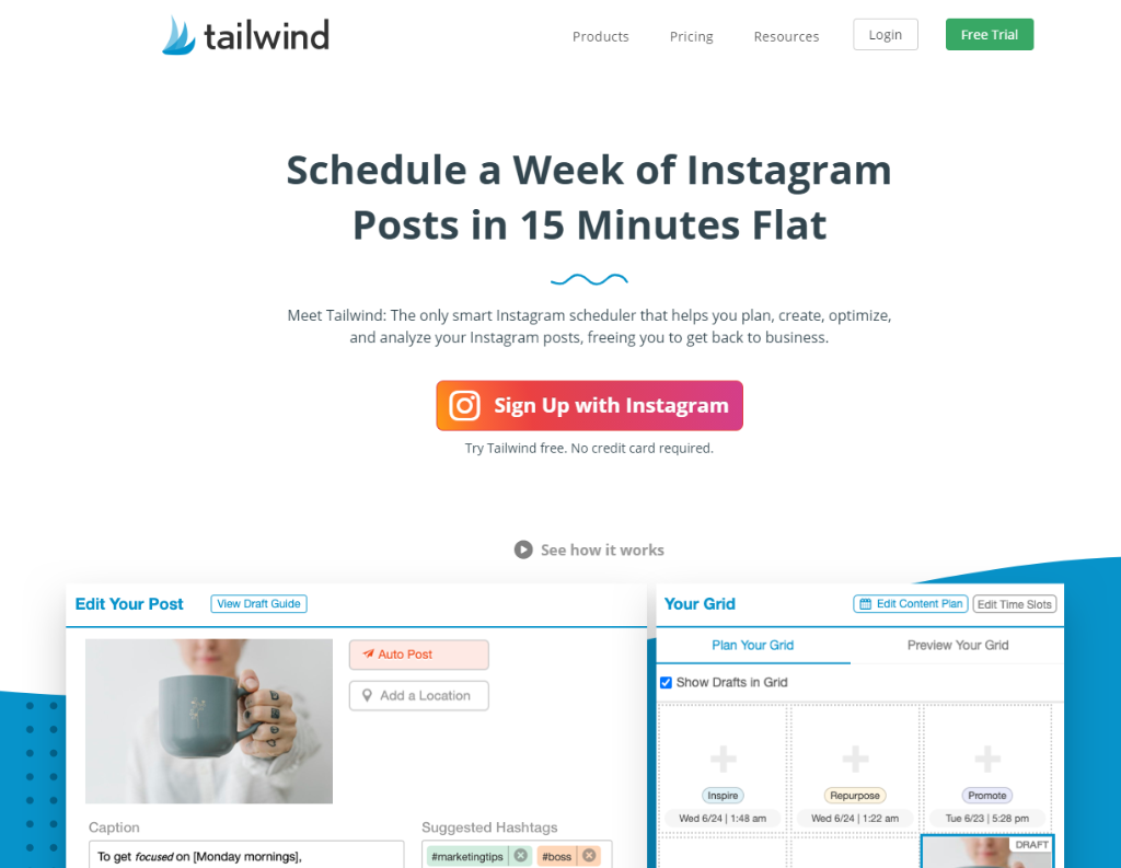 Tailwind Plan Instagram Content