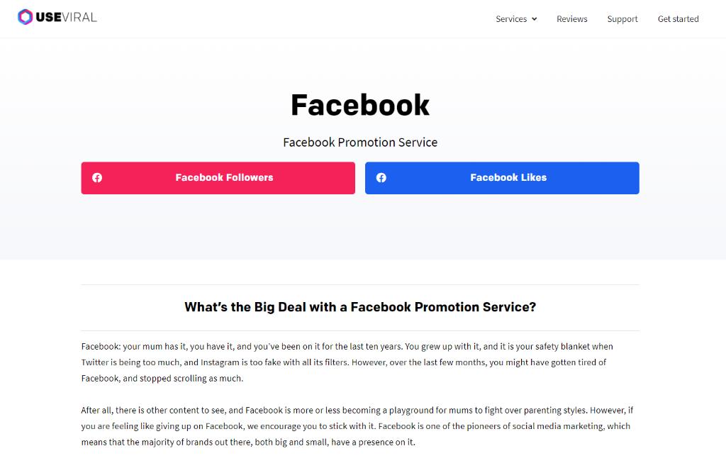 UseViral Facebook Promotion Service