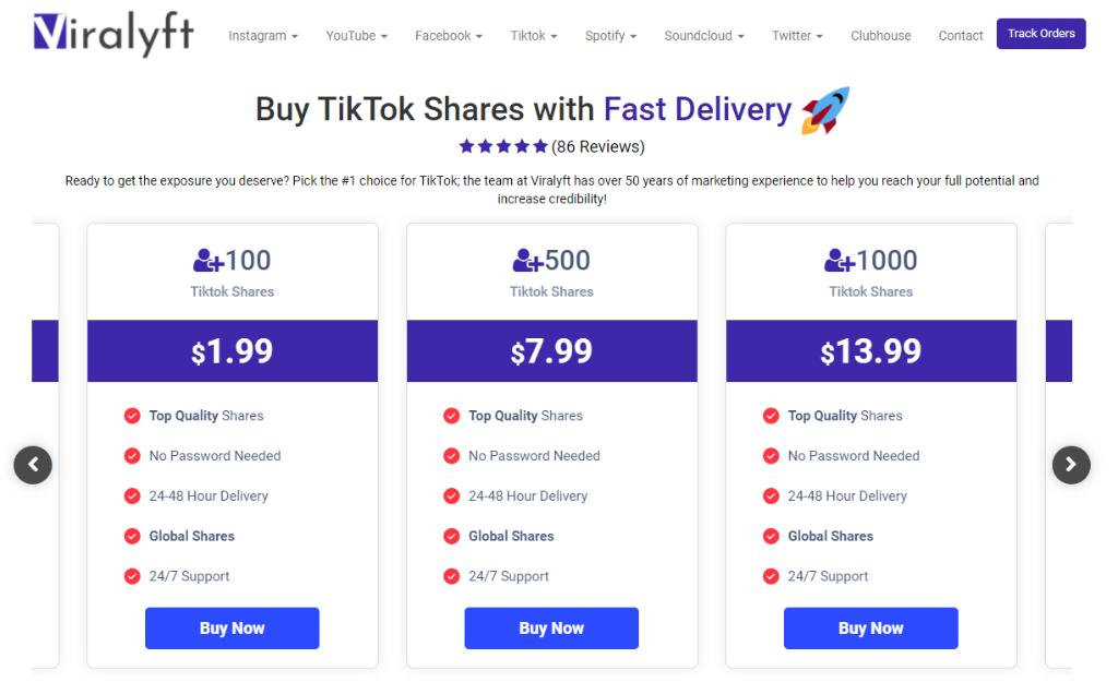 Viralyft TikTok Shares
