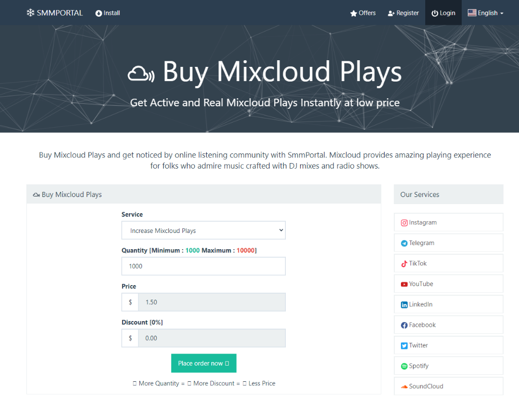 SMM Portal Mixcloud Plays